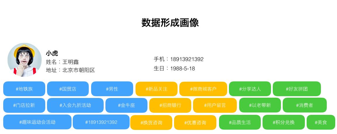 图1 通过微信运营获得的消费者标签数据