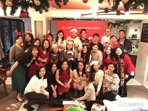 2016年杜凌(第二排右一)与安可团队的圣诞party